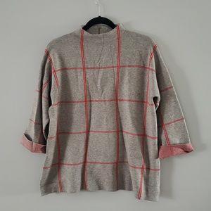 Women's Tahari Gray and Red Striped Sweater